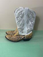 Tony Lama Vintage 90's White Python Snake Skin Boots Mens Size 11B