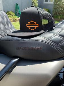 harley davidson themed snapback hat breathable / trucker black with orange logo.