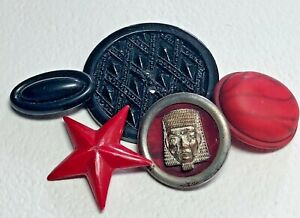 Antique Celluloid Buttons, Red & Black - ⭐️, Oval, Head Metal Rim OME, 2 Hole