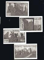 4x 75 Pf  Notgeld  Gemeinde STECKLENBERG  im Ostharz 1921 Großformat