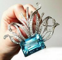Real 925 Sterling Silver Brooch Pin Aqua Emerald Cut CZ  Highend Party Jewelry