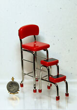 Dollhouse Miniature Retro Red Kitchen Chair & Stool Combo