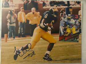 Tyrone Wheatley Michigan Wolverines Signed / Autographed 8x10 Photo & Card