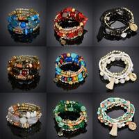 femmes Bracelet Pierre Perles Gemme Bijoux Mode Turquoise Agate Chaîne Set Neuf