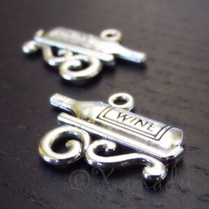 Wine Bottle Charms 22mm Antiqued Silver Plated Pendants C3465 - 10, 20 Or 50PCs