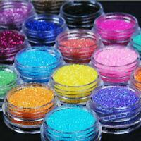 12 Mix Colours Nail Art Craft Acrylic Fine Metal Glitter Pots-Tips Powder R2K5
