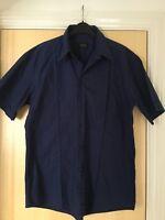 "Mens VERSACE Shirt XL 43"" Short Sleeved Navy"