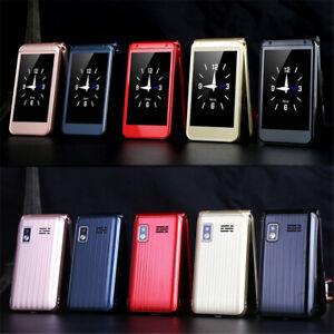 Dual Display Flip Mobile Phone 2G GSM Unlock Easy Work Senior Speed Dial Big Key