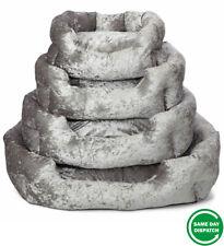 New Snooze Crushed Velvet Dog Bed Soft Washable Fleece Cushion Warm Luxury Pet