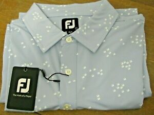 Footjoy Lisle Flock of Birds Self Collar Golf Polo Shirt L Blue Fog w/White NEW!