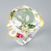 Handmade SET29ct+ Natural Green Amethyst 925 Sterling Silver Ring Size 9/R123986