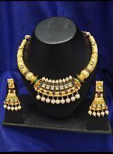 Kundan  , pearl and meenakari assemble designer  choker strand necklace set