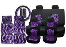 Lightweight Padded Mesh Seat Covers Purple Zebra Accent on Black Floor Mats CS