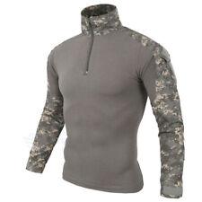Men Military Combat Long Sleeve 1/4 Zip Pullover Tees Army Camo Tactical T shirt