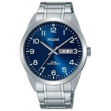 PULSAR MEN'S 38MM STEEL BRACELET & CASE QUARTZ BLUE DIAL ANALOG WATCH PJ6061