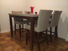 Acme Counter Height Beige MARBLE TOP dining table 6pc set - Transitional Style