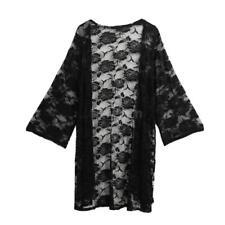 Plus Size Solid Kimono Cardigan Women Lace Crochet Beach Cover up Bouse Top P9m3 Black 4xl (us14 Uk18 Eu44)