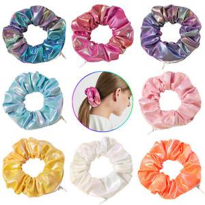 Womens Elegant Laser Cloth Pocket Scrunchie With Zip Zipper Scrunchies Hair Ring