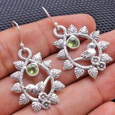 Round Peridot Gemstone Designer Earrings Solid 925 Sterling Silver Women Jewelry