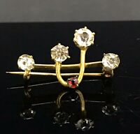 ANTIQUE PASTE  BROOCH  SMALL ADORABLE PIN GILT METAL LOVELY PIN ABSTRACT DESIGN