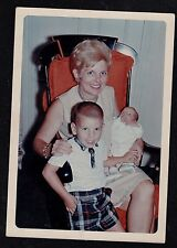 Vintage Photograph Grandma with Baby & Little Boy Sitting in Rocking Chair