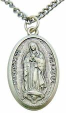 Our Lady of Guadalupe Medal Large 1 1/4 Inch Metal Pendant Medallion with Chain