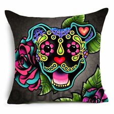 SUGAR SKULL CUSHION COVER Day of the Dead STAFFIE Dog STAFFORDSHIRE BULL TERRIER