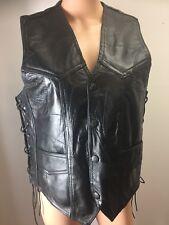 Diamond Plate Buffalo Leather Black Sleeveless Vest Lace Up Sides Patchwork M