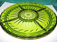 "Anchor Hocking Dark Green Depression Glass Sectional Platter 13 1/2"" Round"
