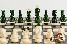 GREAT ''GREEN KINGDOM'' WOODEN CHESS AND DRAUGHTS SET!!! HAND CRAFTED 35x35cm!!!