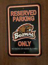 "New Mlb 12""x18"" Plastic Styrene Reserved Parking Sign - Oregon State Beavers"