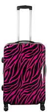 Hartschalen Reise Koffer Trolley Dehnfalte Handgepäck Motiv Zebrafell Pink Gr.L