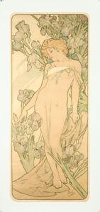 Vintage Style Alphonse Mucha Affiche Géant Autocollant Art Nouveau Fleurs Iris