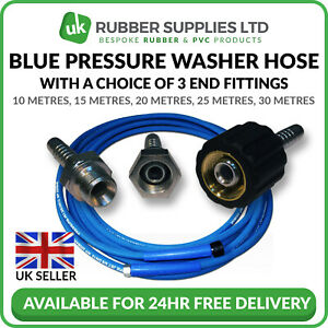 "Blue Pressure Washer Hose Karcher 3/8"" BSP Male Female M22 330 Bar Jet 2 Wire"