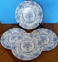 Vintage Arcopal HONORINE Dinner Plates SET OF 4 - BLUE WHITE Scalloped FRANCE