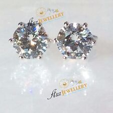Sparkling 100% Real Genuine 925 Silver 6 Claw Simulated Diamond Stud Earrings