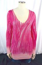 Rare Loro Piana Pink 100% Cashmere Brush Long Dress V Neck Pullover SZ 42