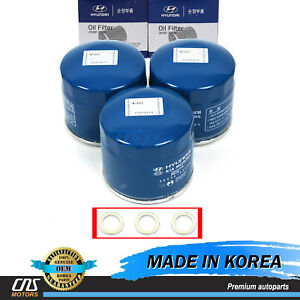 ⭐⭐GENUINE Oil Filter Washers 3pcs for Hyundai Accent Elantra Sonata Kia Optima⭐⭐