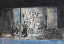 Vintage modernist gouache/collage painting theater scene design