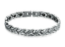 Damen Herren Enegiearmband Magnet Armband Edelstahl Kristall Armkette 20 cm