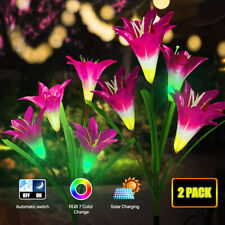Waterproof LED Solar Power Garden Lily Flower Lights Outdoor Stake Patio Pathway