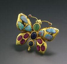 Schmetterling-Ring Smaragd, Rubine, Saphire Opale 11 carat, Sterlingsilber, neu