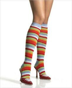 Rainbow Stripe Socks Warm Kawaii Knee High Leg Avenue