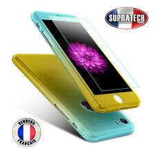 Coque Complète Bicolore Bleu et Jaune avec Verre pour Apple iPhone 7
