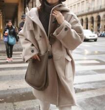 autumn winter ladies fashion button wool oversize loose long parkas overcoat