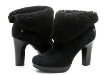 Ugg Australia Black Shearling Fur Ankle Boots Suede Cuffed Booties 8.5 39.5