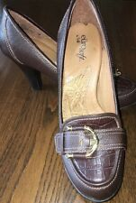 """Euro Soft Sofft Brown Leather 3"""" Heels Women's Size 7.5M"""