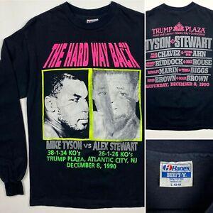 Vintage 90s Mike Tyson Vs. Stewart Double Sided Long Sleeve t-shirt men's medium