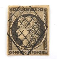 .1849 FRANCE CERES 20c IMPERF USED HINGED GOOD MARGINS GRILL CANCEL NICE GRADE#2