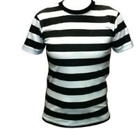 Men's BLACK WHITE STRIPED Stripe Short Sleeve Cotton T-Shirt SMALL MEDIUM LARGE